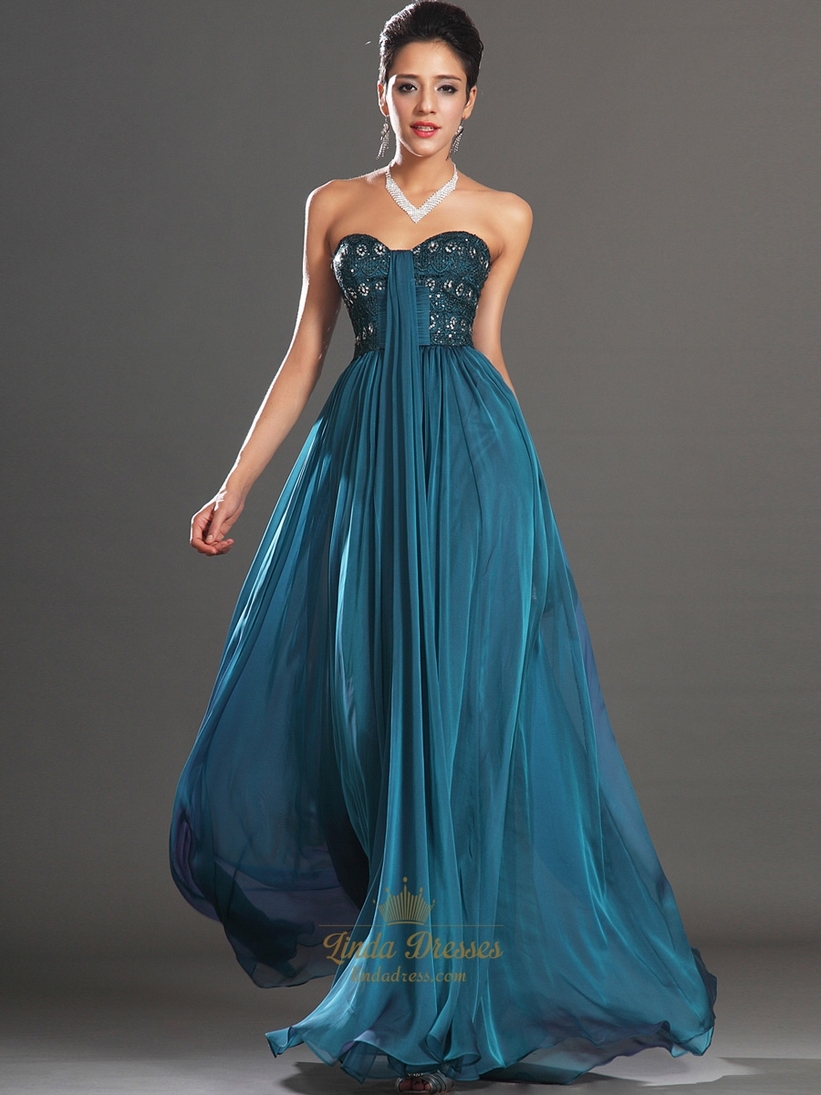 Teal Sweetheart Strapless Chiffon Prom Dress With Beaded Lace Bodice ...