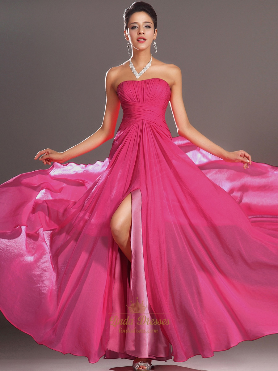 Hot Pink Strapless Chiffon Side Split Prom Dresses With Pleated ...