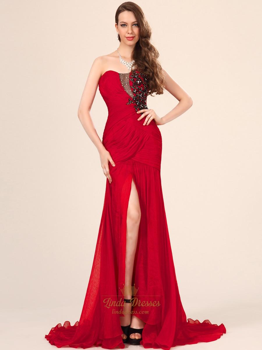 Red Strapless Mermaid Chiffon Prom Dress With Beaded Applique Detail ...