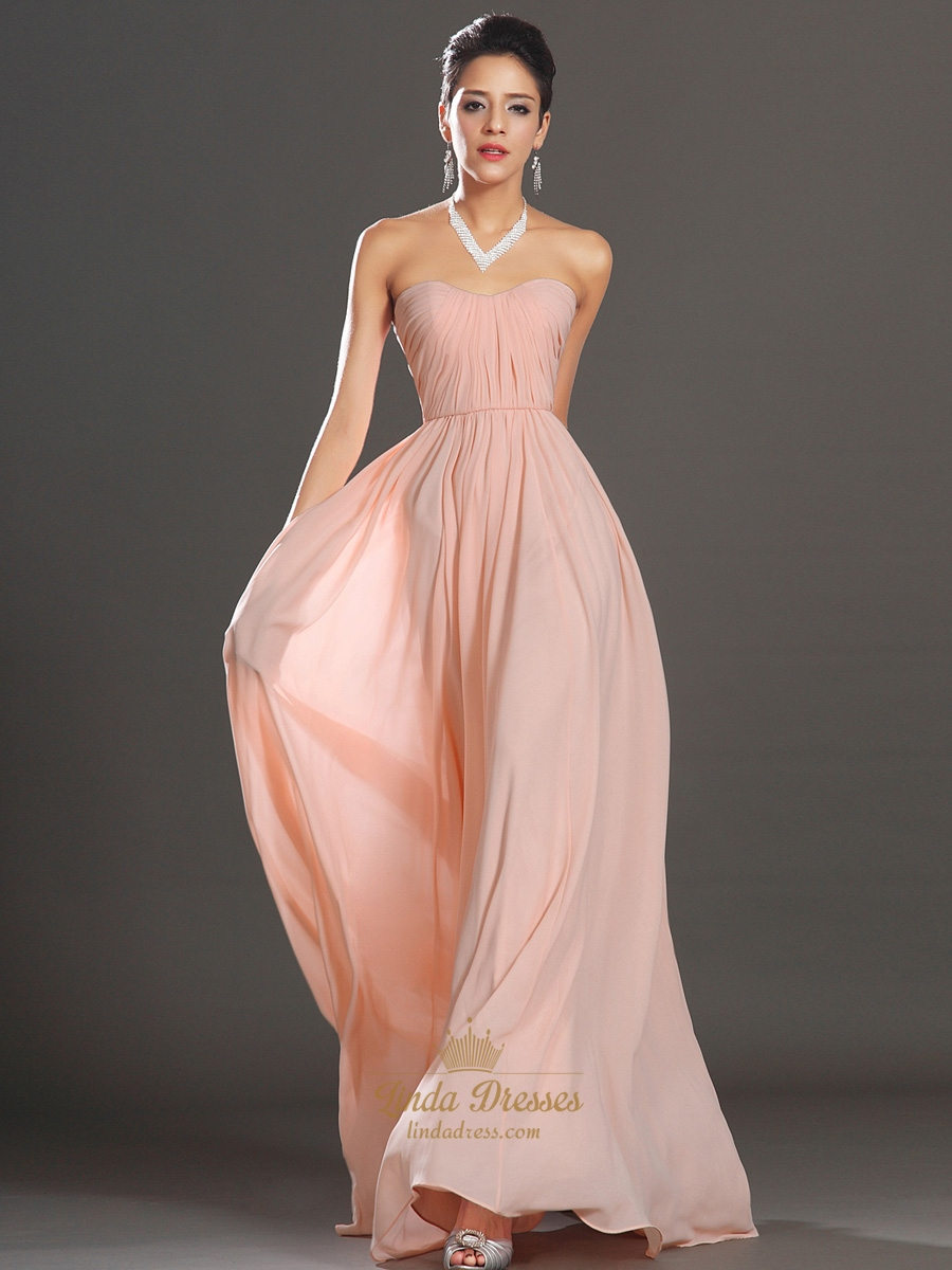 Dusty Pink Strapless A-Line Chiffon Bridesmaid Dresses With Ruching ...