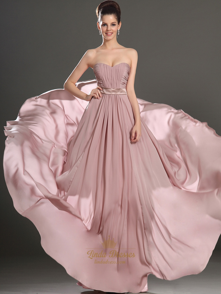 Dusty Pink A-Line Sweetheart Strapless Ruched Chiffon Bridesmaid ...