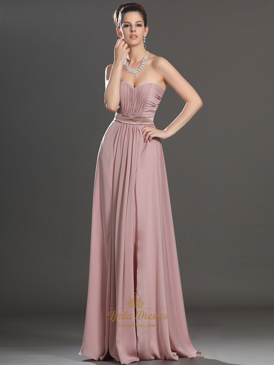 Dusty pink a line sweetheart strapless ruched chiffon bridesmaid dusty pink a line sweetheart strapless ruched chiffon bridesmaid dress ombrellifo Gallery