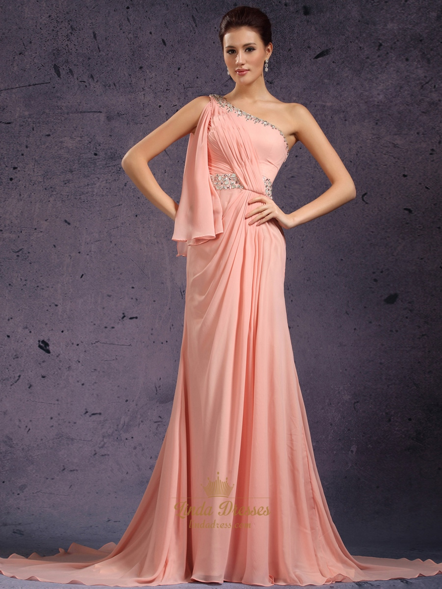 Peach beaded one shoulder chiffon sheath prom dress with for Sheath wedding dress with beading and side drape