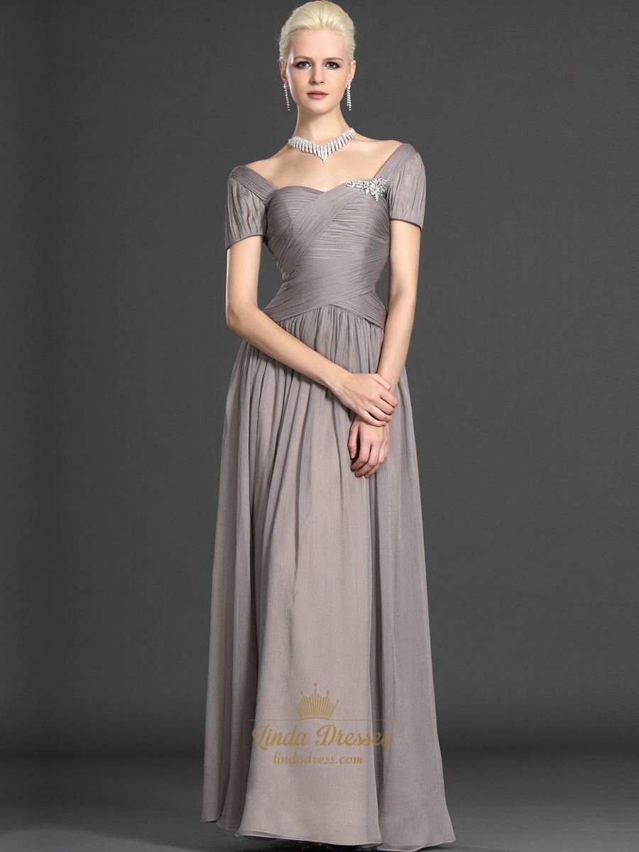 Gray Chiffon Short Sleeves Mother Of The Bride Dress With