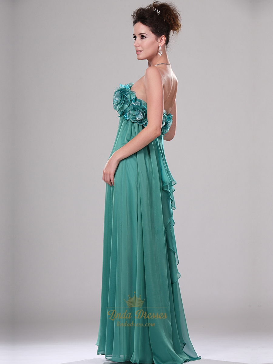 Green Chiffon Strapless Floral Bodice Prom Dress With