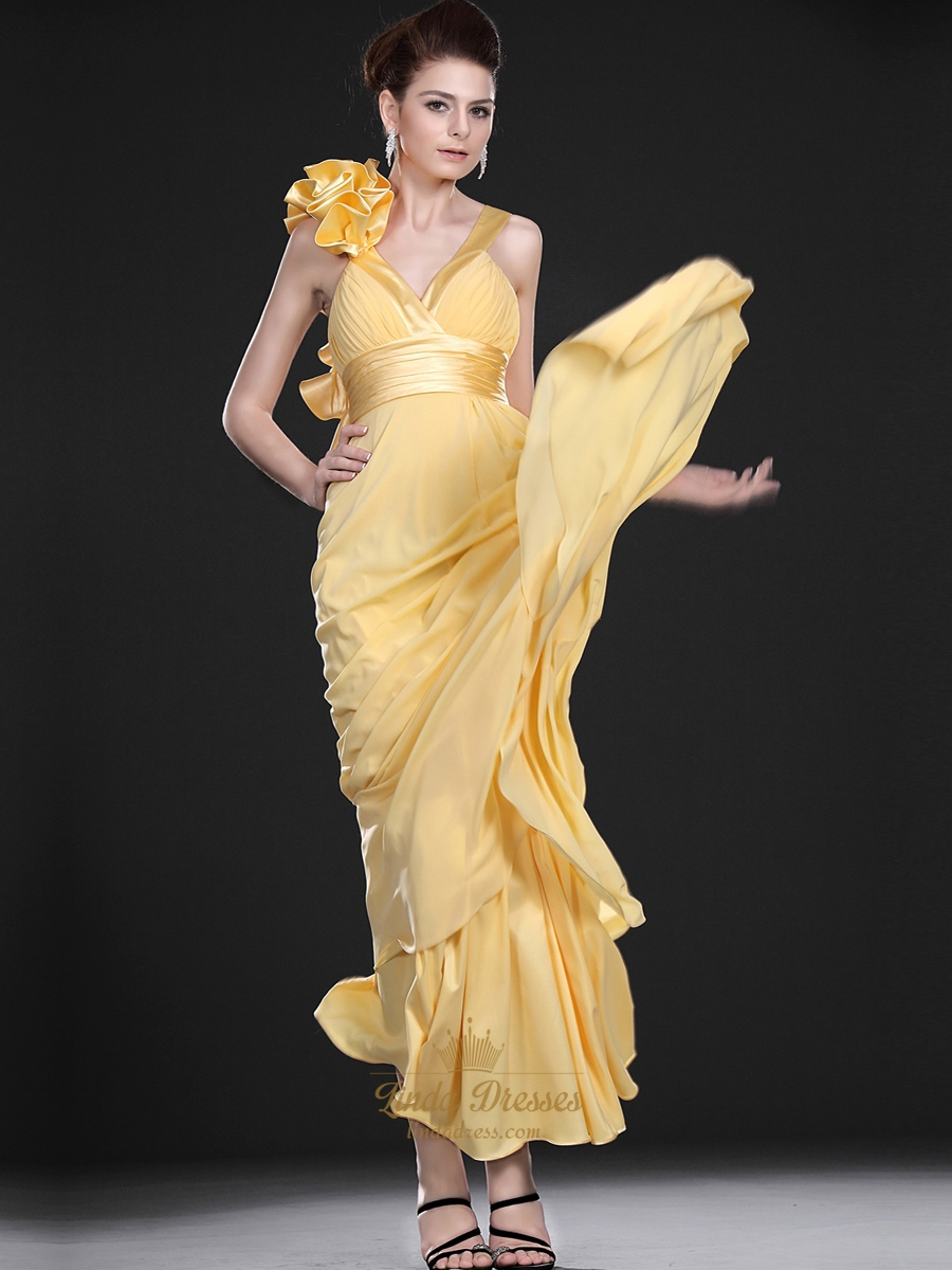 yellow dress flowy yellow flowy v neck crinkle chiffon prom dress with 2024