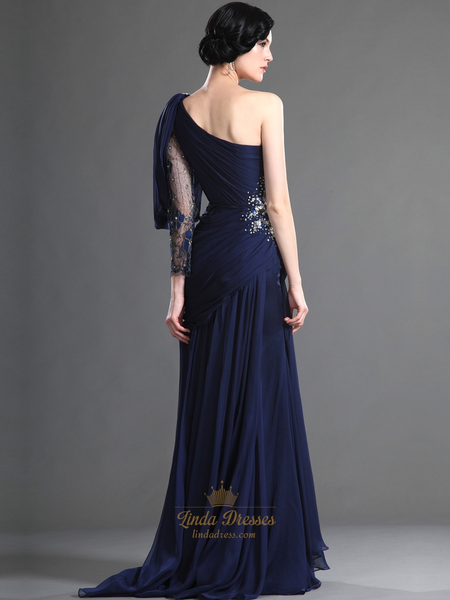 Navy Blue One Shoulder Chiffon Prom Dress With ...