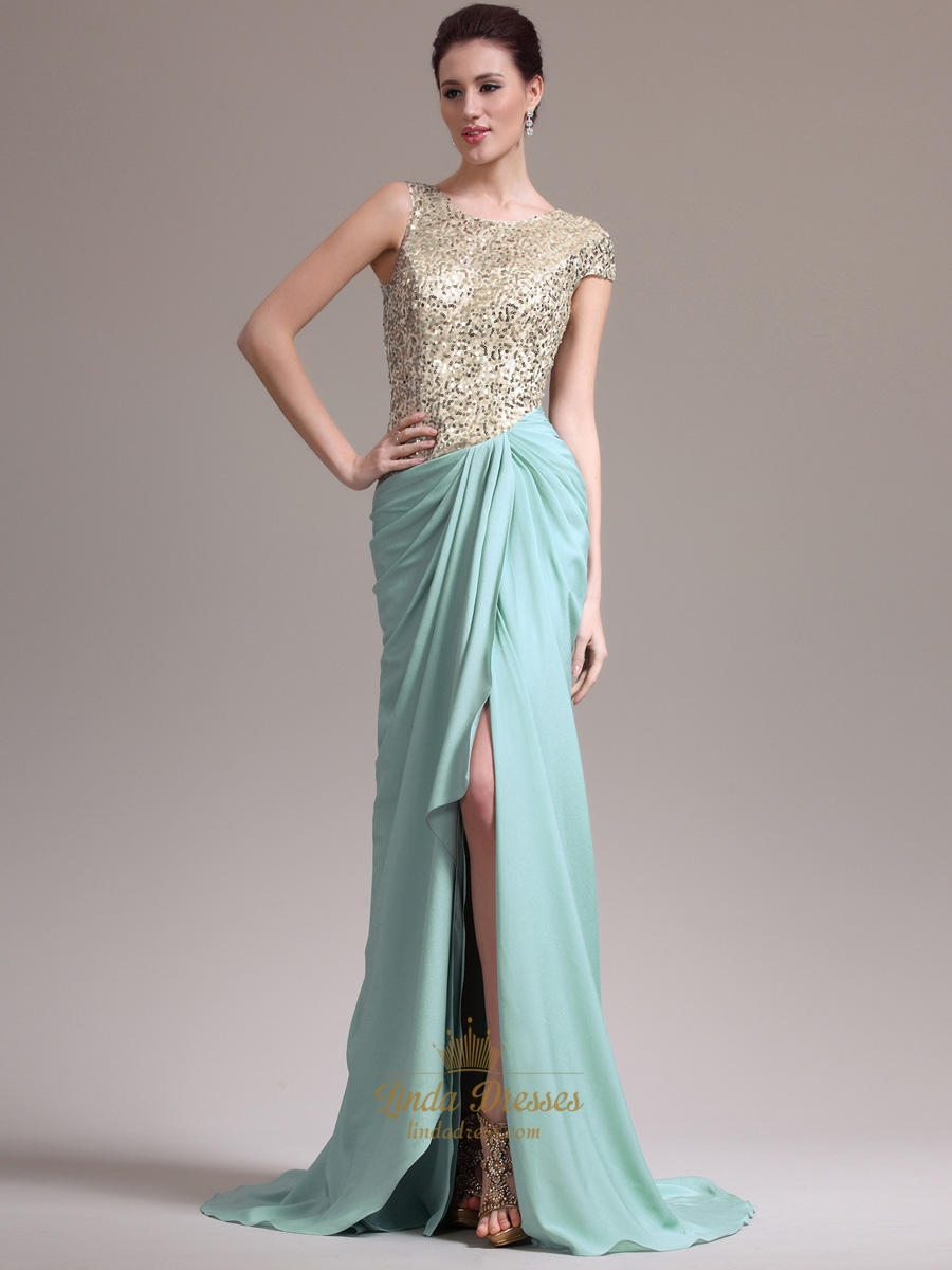 Gold And Blue Sequin Bodice Chiffon Prom Dress With Side