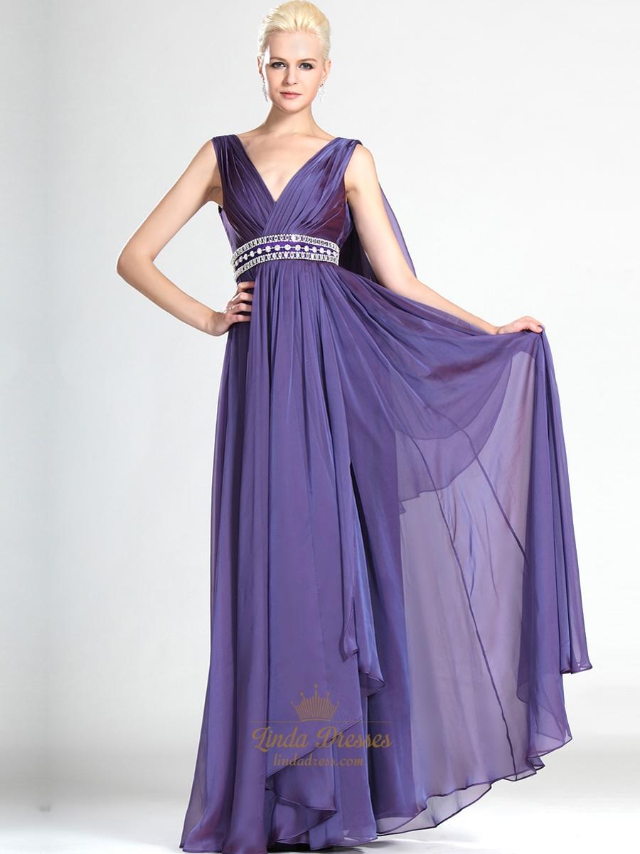 Grey Beaded Long Tulle Prom Dress V-neck Sleeveless #