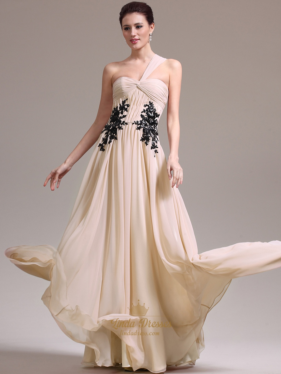 Champagne Flowy One Shoulder Chiffon Prom Dress With Lace