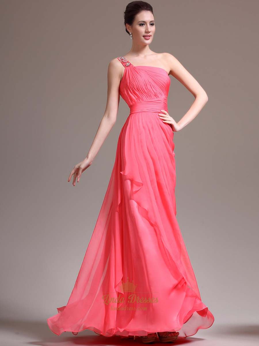 Watermelon One Shoulder Chiffon Prom Dress With Cascading Detail ...