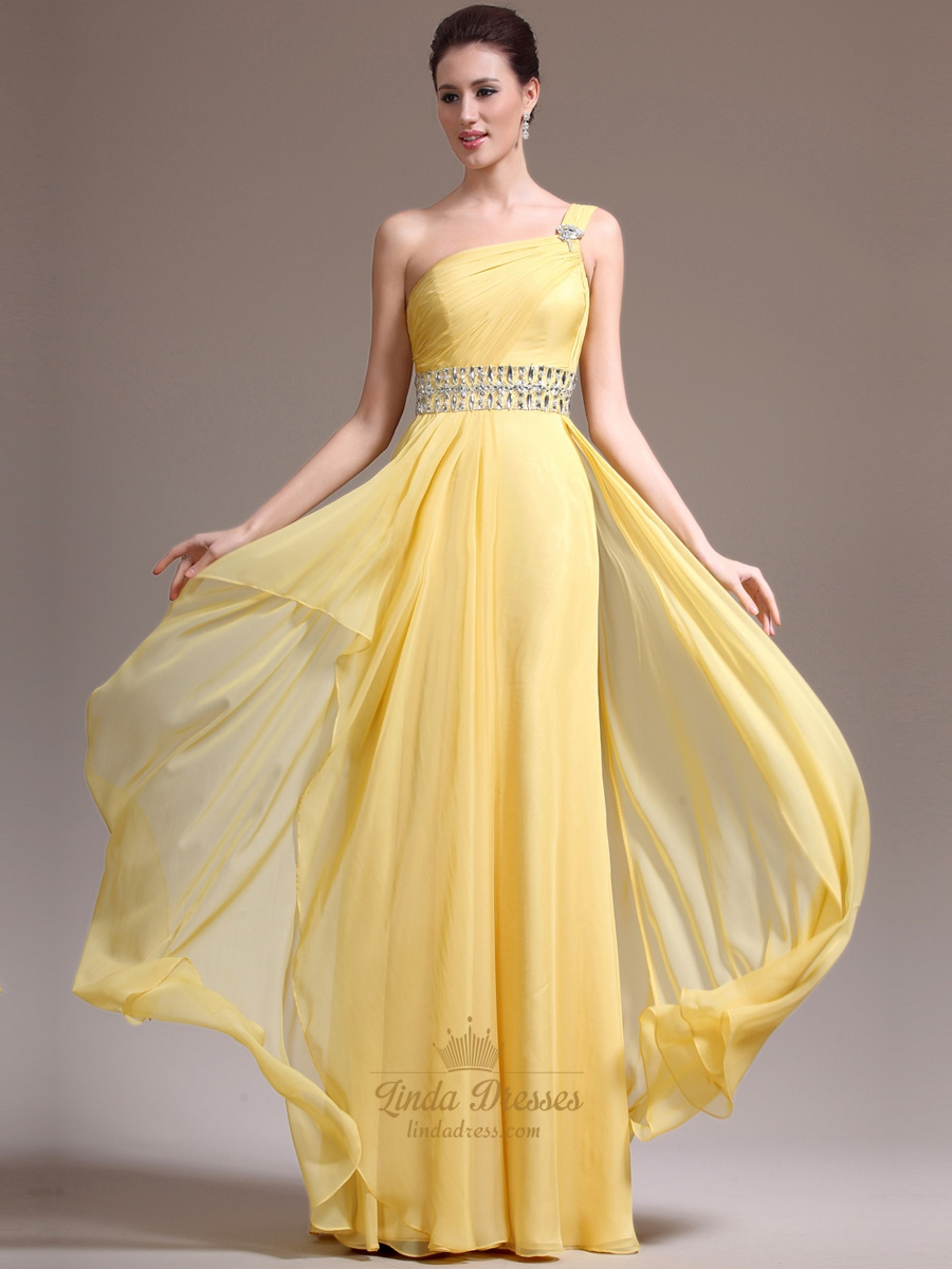 Yellow One Shoulder Chiffon Cascading Ruffle Prom Dress With Beading ...