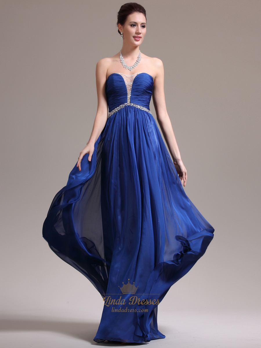 71549935d68d Royal Blue Strapless Ruched Bodice Chiffon Prom Dress With Beaded Detail