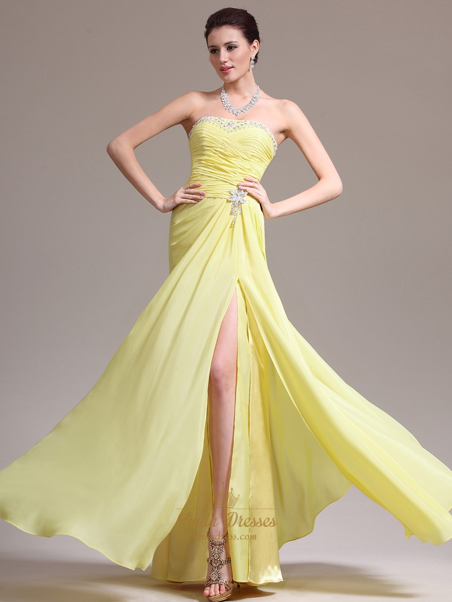 97b8fc84f72c Yellow Strapless Beaded Neckline Chiffon Prom Dress With Side Slits ...