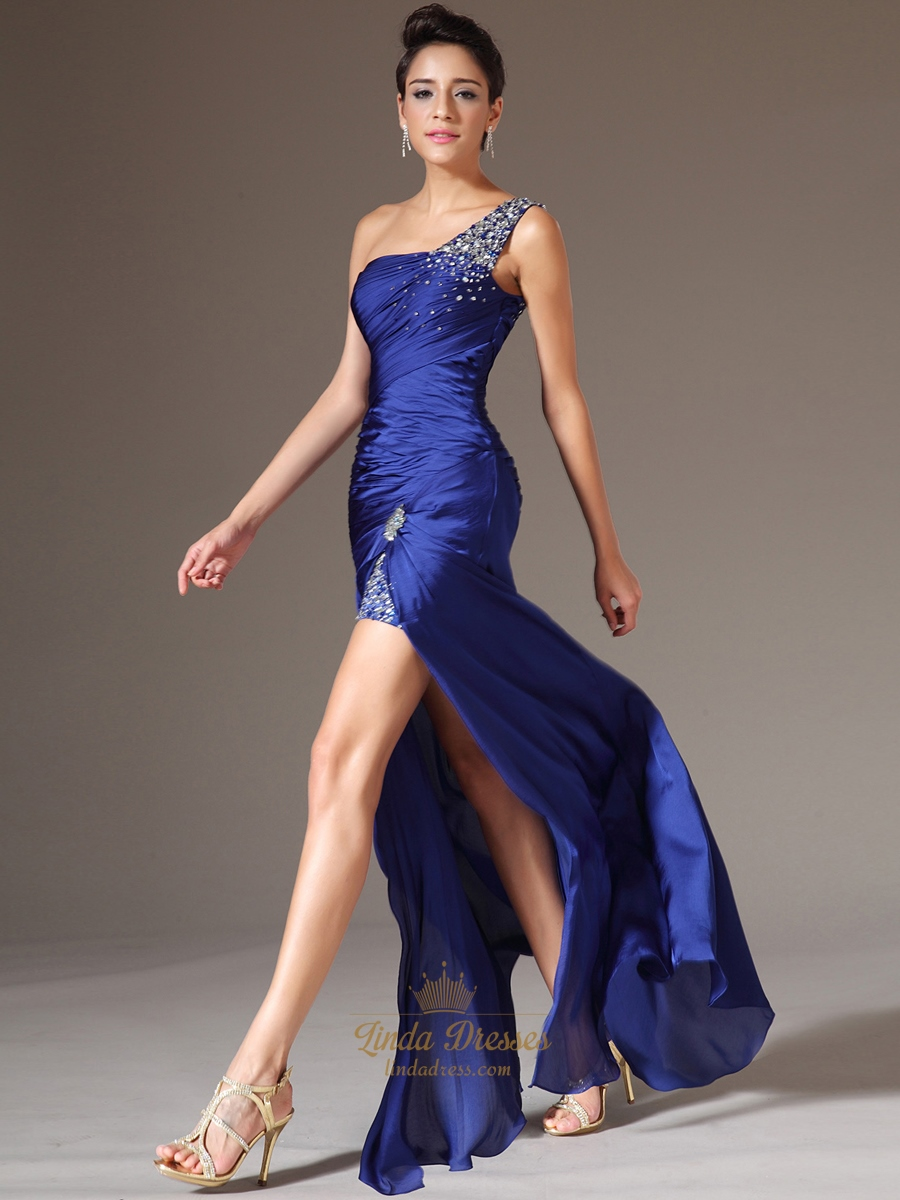 One strap royal blue prom dresses