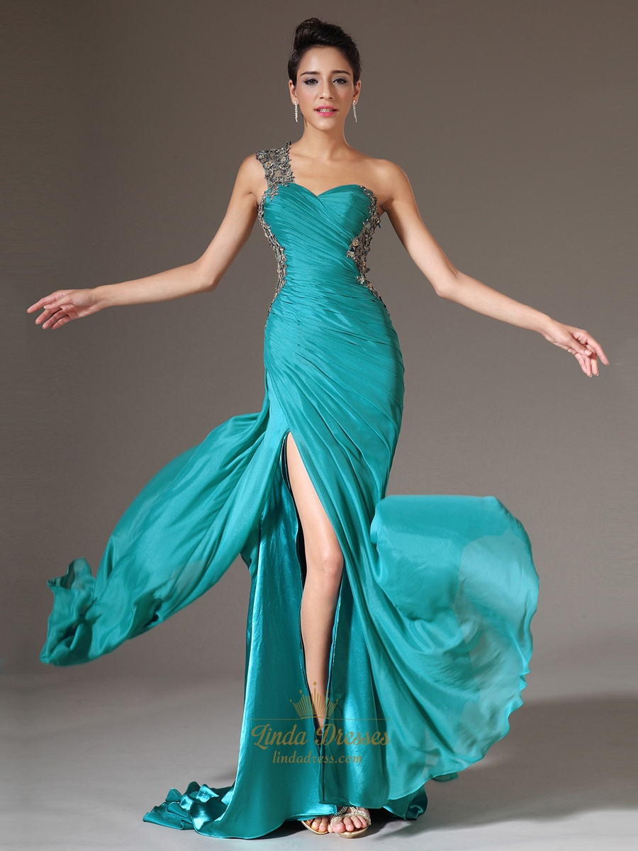 Turquoise One Shoulder Applique Ruching Chiffon Prom Dress With ...