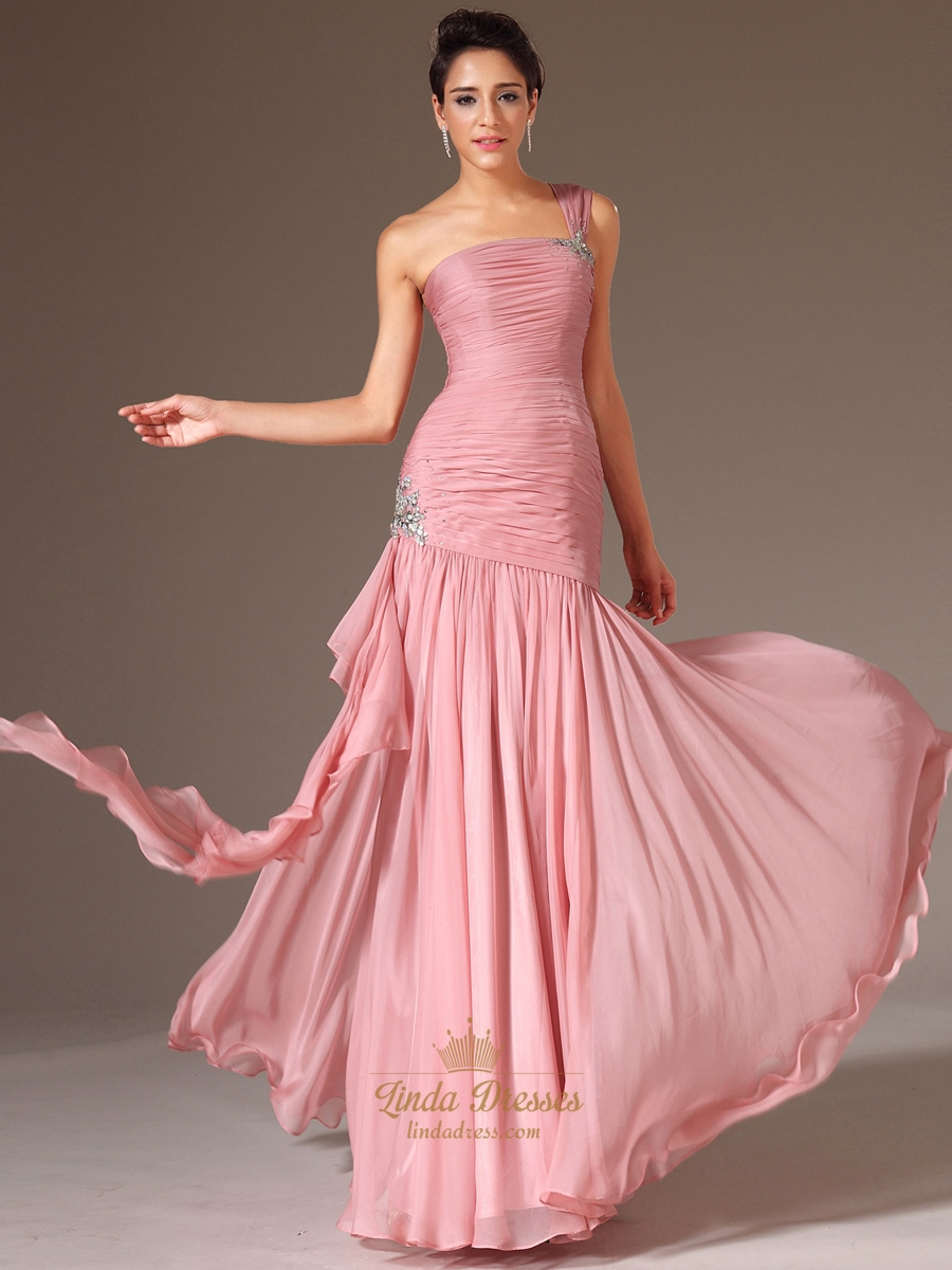 0eae0b4fd96d Pink One Shoulder Beading Chiffon Prom Dress With Cascading Detail ...