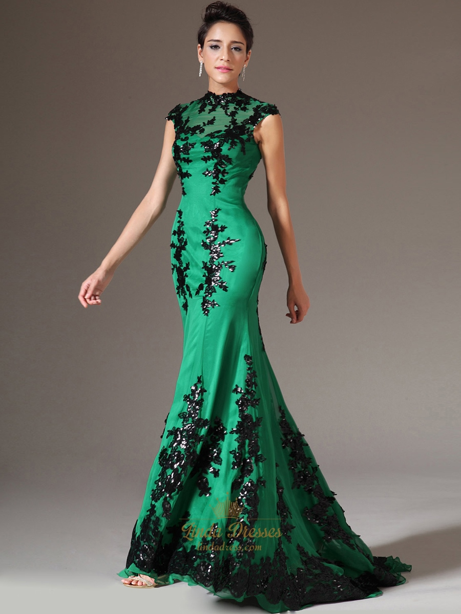 green high neck mermaid cap sleeve prom dress with black