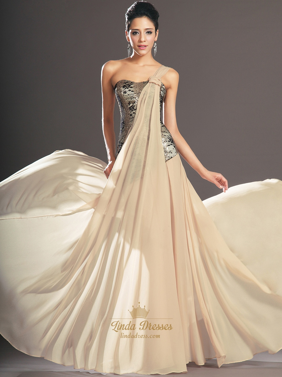 99173c245c21 Champagne One Shoulder A Line Chiffon Prom Dress With Lace Bodice SKU -E084