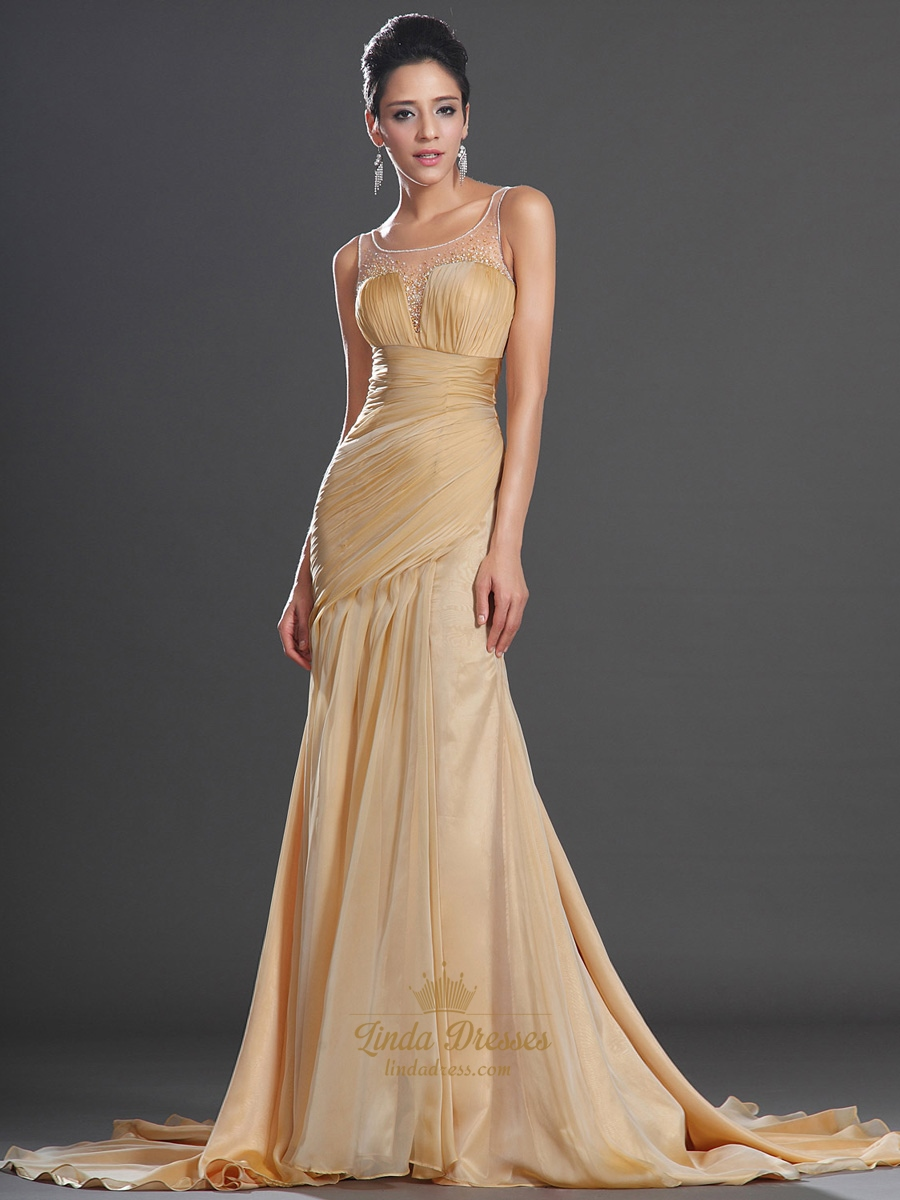 gold chiffon sleeveless high split prom dress with beaded