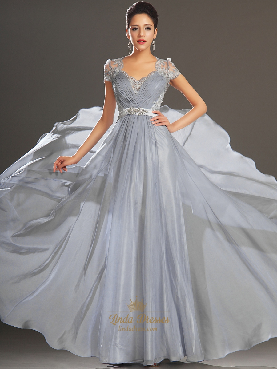 Grey Chiffon A-Line V-Neck Cap Sleeve Prom Dress With Illusion ...