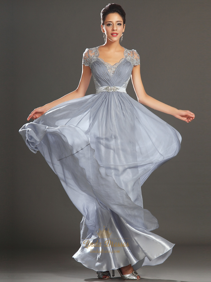 Grey Chiffon A-Line V-Neck Cap Sleeve Prom Dress With Illusion Lace ...
