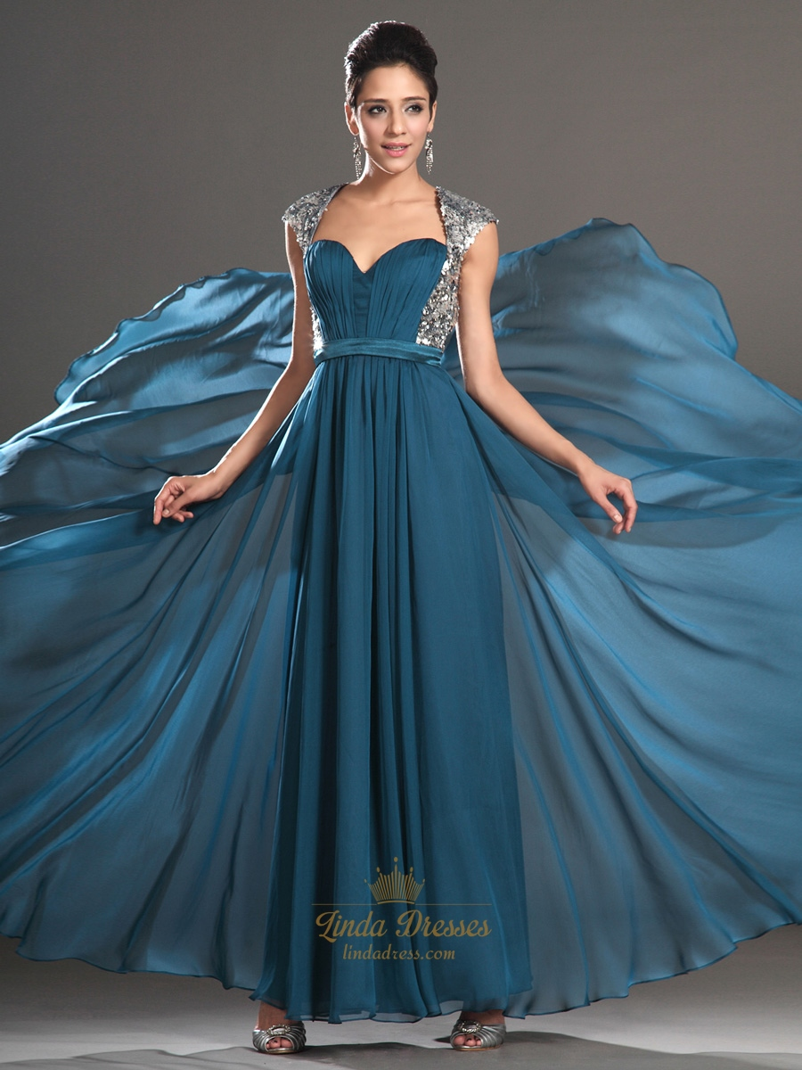 Teal Sweetheart Chiffon Cap Sleeve Open Back Prom Dress With Sequin ...