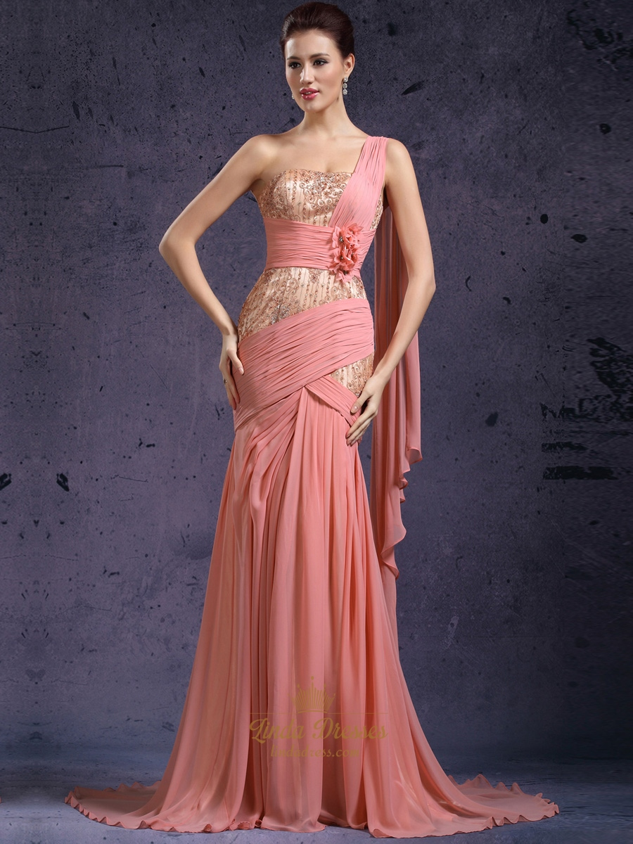 cc6e5dfb6aa5 Coral One Shoulder Lace Bodice Chiffon Prom Dress With 3d Floral Detail