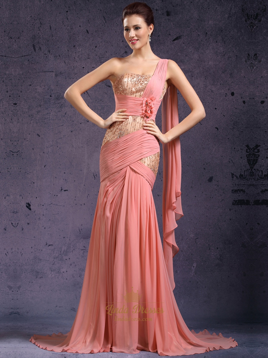 Coral One Shoulder Lace Bodice Chiffon Prom Dress With 3D Floral ...
