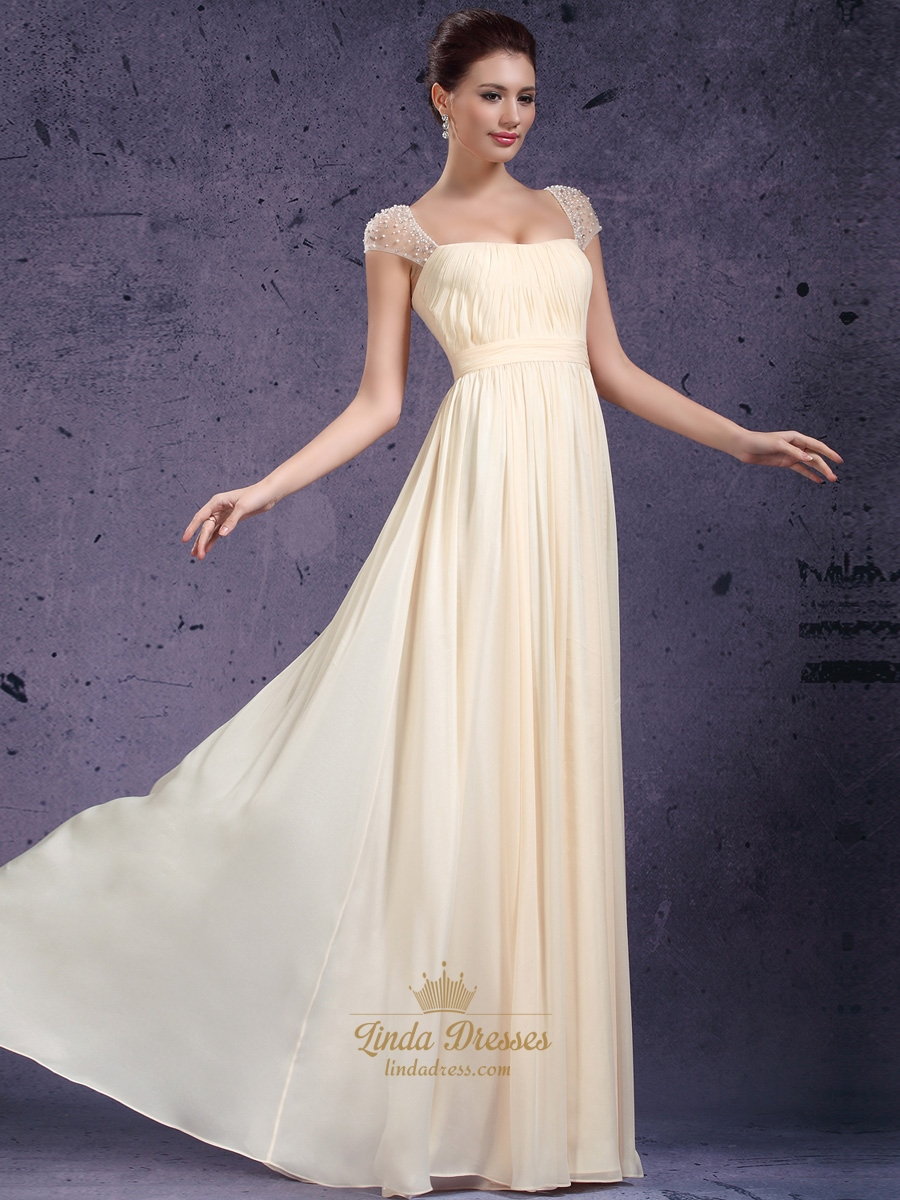 Light Yellow Chiffon Cap Sleeve Prom Dress With Beaded