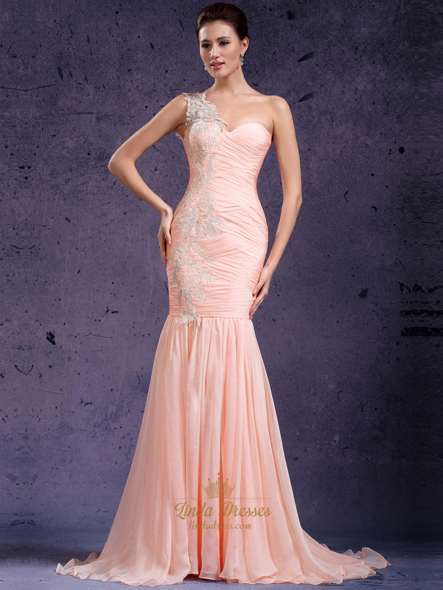 One Shoulder Prom Dress With Pleated Bodice | Linda Dress