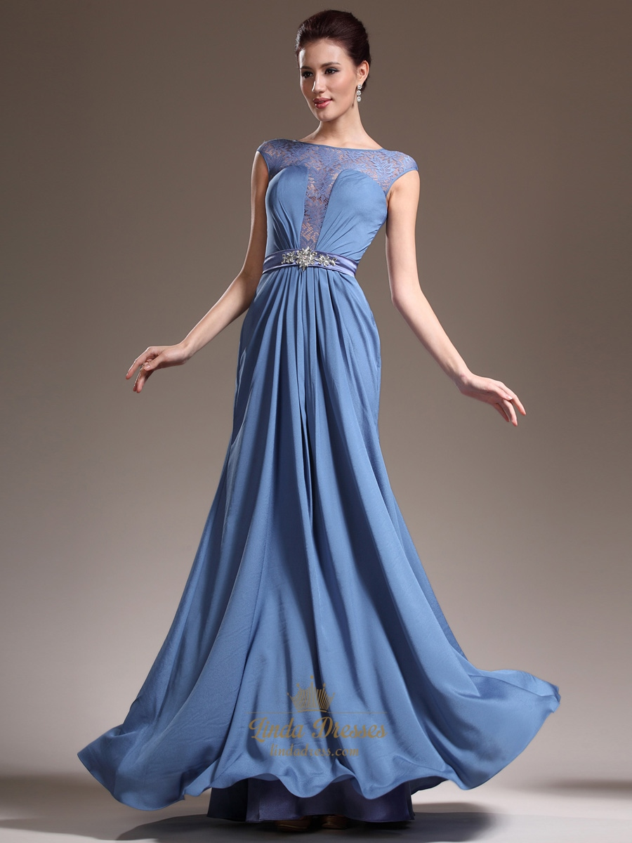 Blue Chiffon Cap Sleeves Prom Dresses With Lace