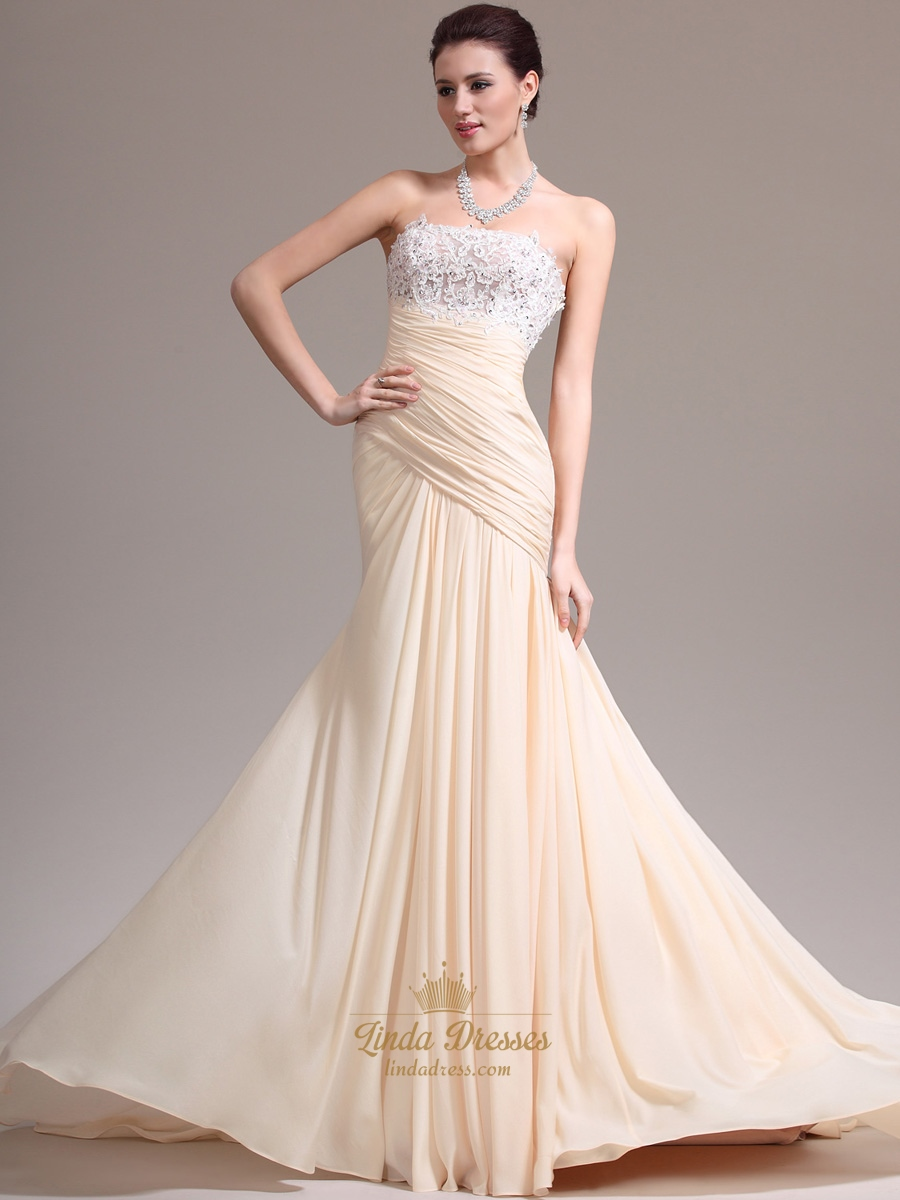 champagne sheath strapless chiffon prom dress with lace