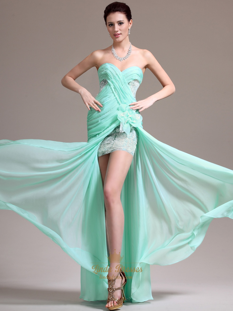 Mint Green Strapless Chiffon Split Front Prom Dress With Applique ...