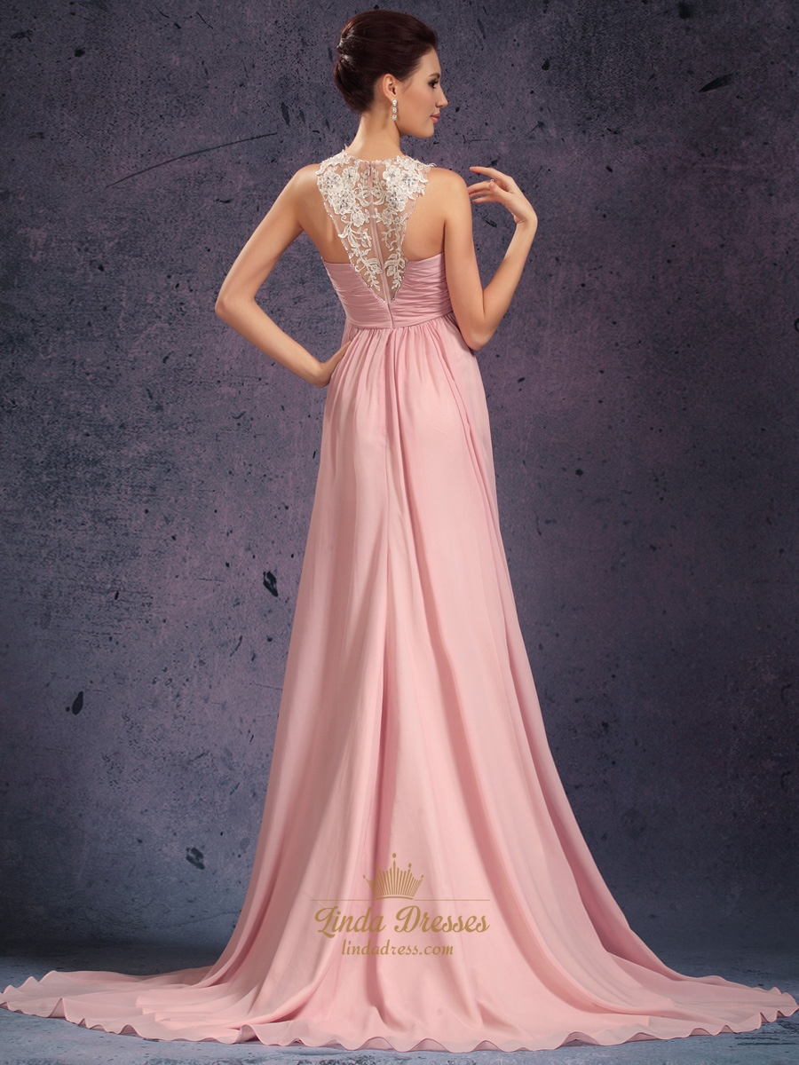 Pink Beaded Lace Applique Chiffon Prom Dress With Jewelled Neckline ...