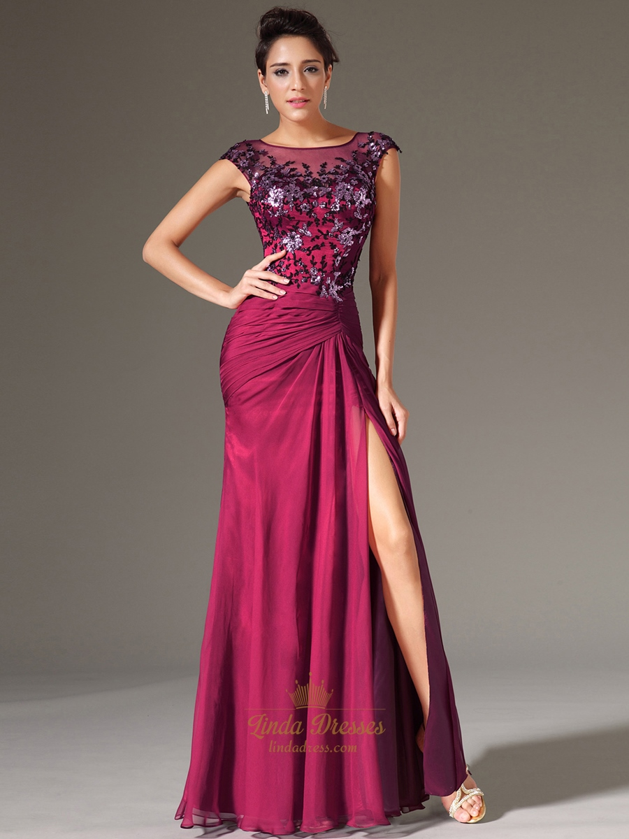 Fuchsia Chiffon Cap Sleeve Prom Gown With Beaded Lace Applique ...