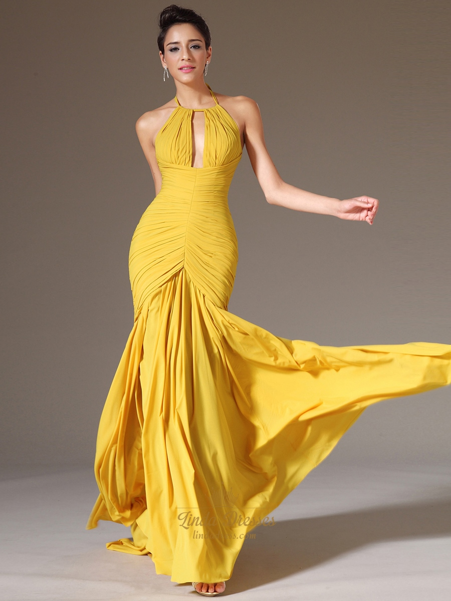 Yellow Mermaid Prom Dresses 73