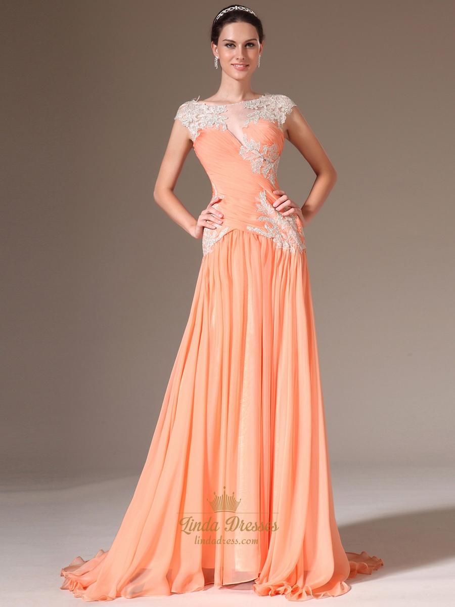 Peach Chiffon Cap Sleeve A Line Prom Dress With Beaded Lace Applique ...