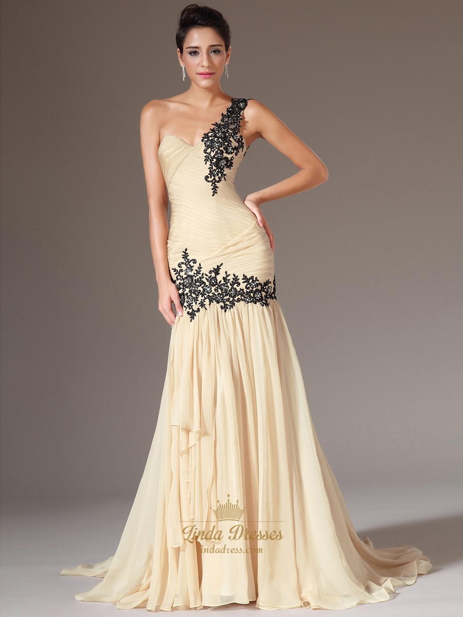 fd63f4b2463f Champagne One Shoulder Sheath Chiffon Prom Dress With Cascading Detail