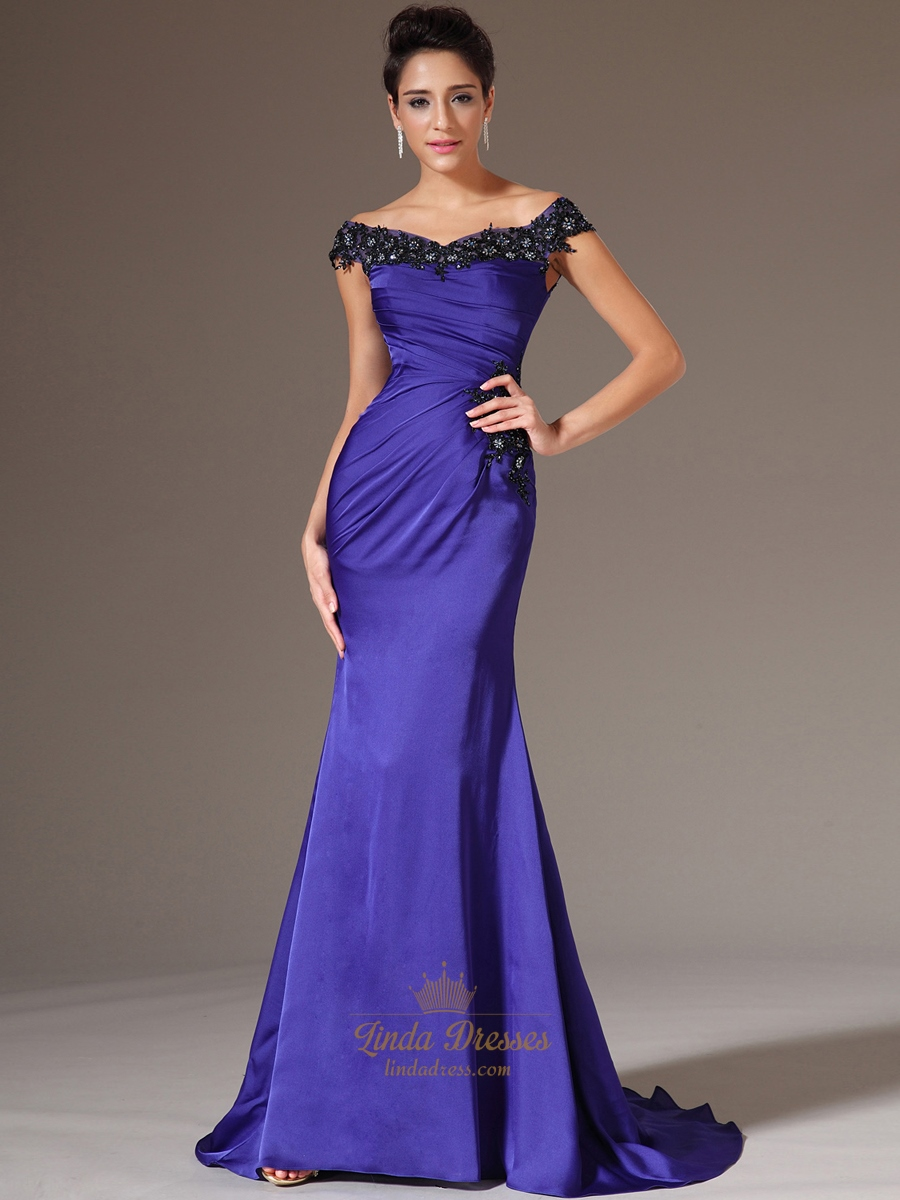 Royal Blue Off The Shoulder Long Prom Dresses With Lace Applique ...