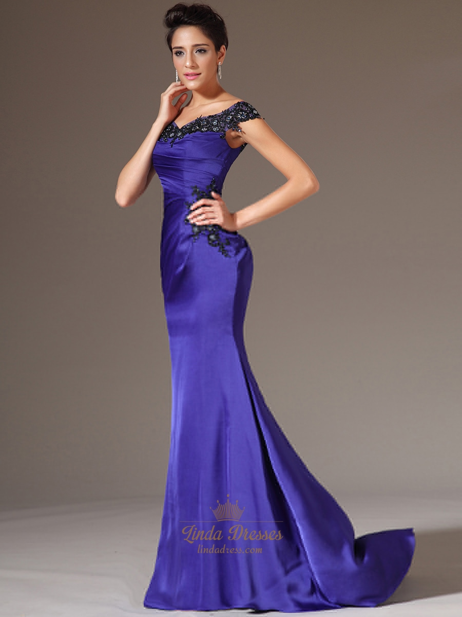 Royal Blue Off The Shoulder Long Prom Dresses With Lace ...