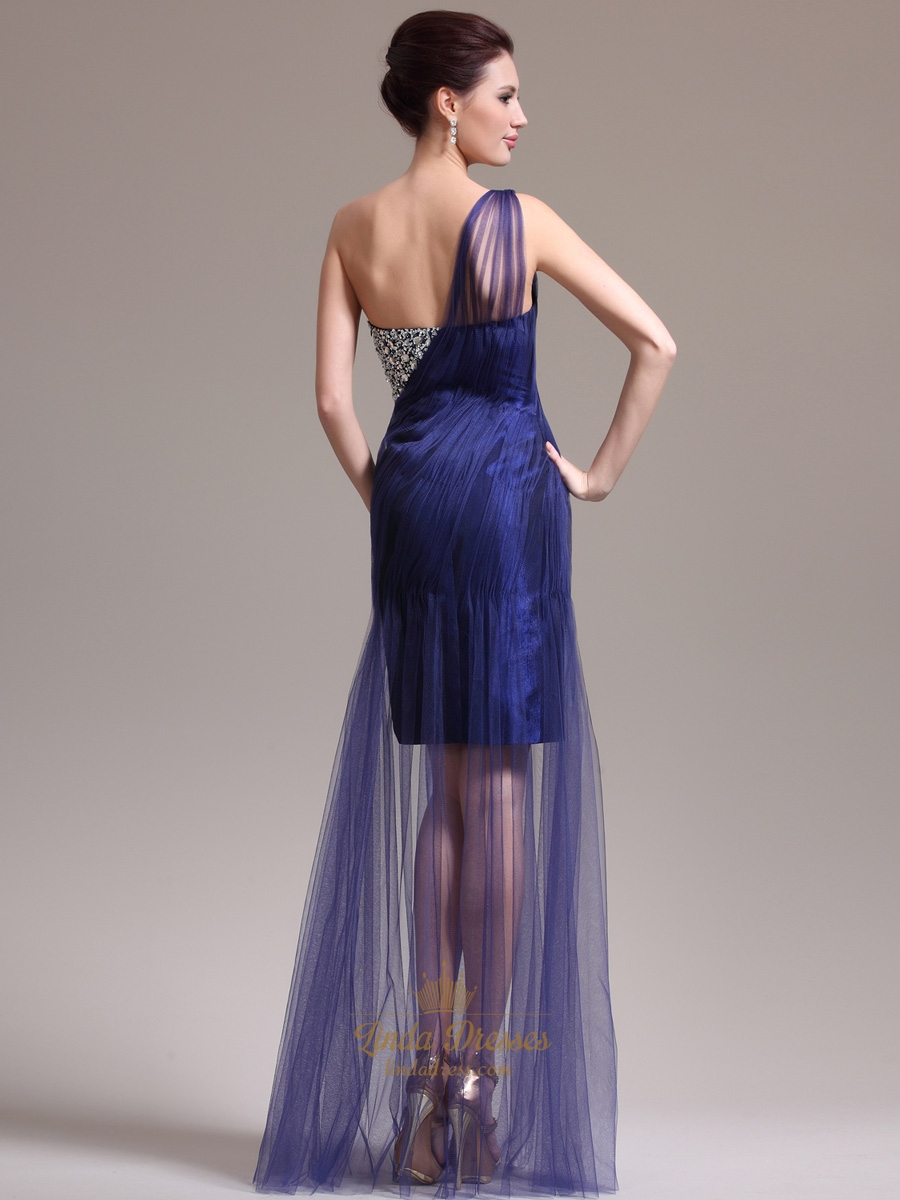 Navy Blue One Shoulder Beading Tulle Prom Dresses With