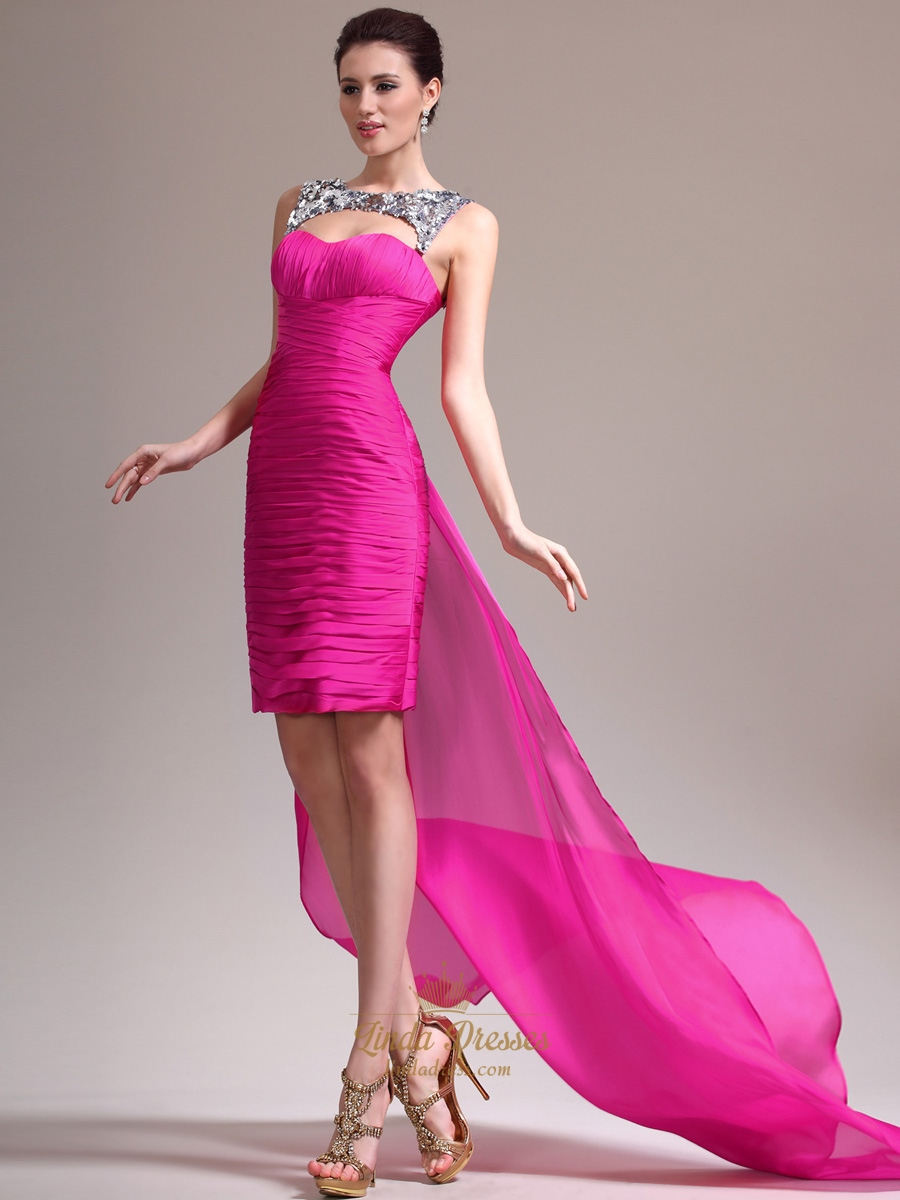 Hot Pink Strapless Ruched Cocktail Dress Short In Front Long In ...