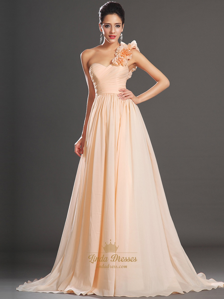 Peach one shoulder flower strap chiffon a line bridesmaid dresses peach one shoulder flower strap chiffon a line bridesmaid dresses ombrellifo Gallery
