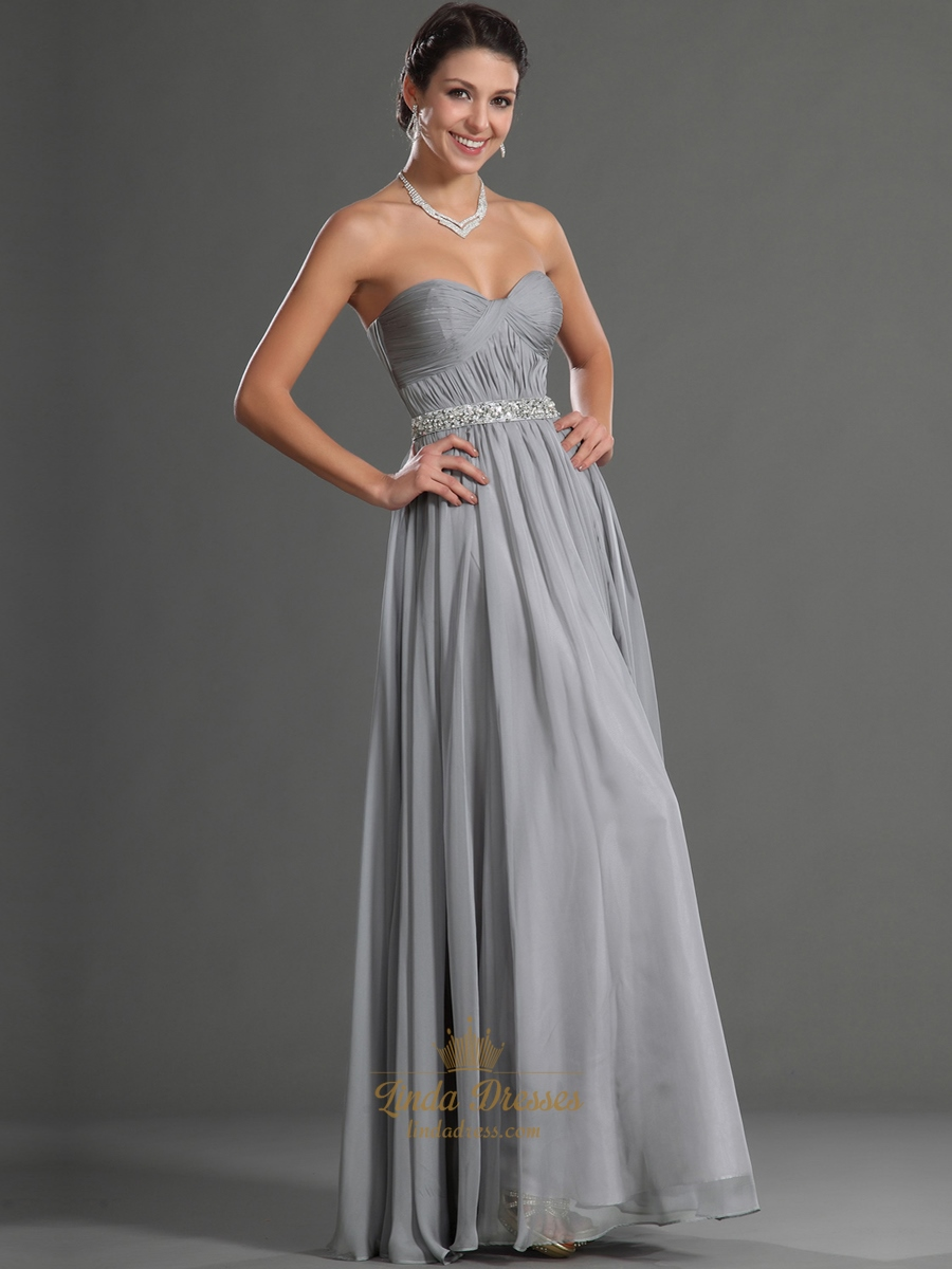 Grey Sweetheart Chiffon Bridesmaid Dresses With Beaded