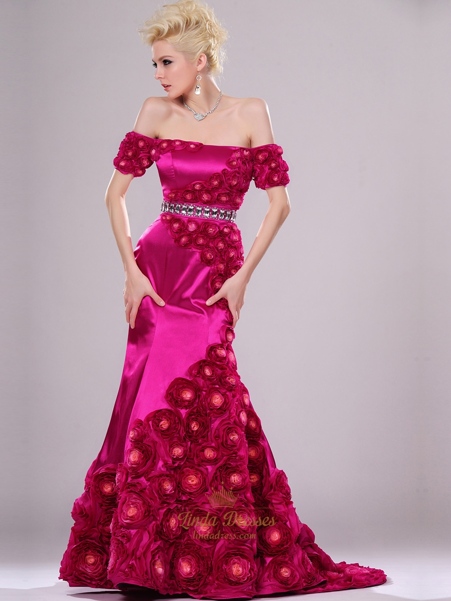 751a2e7fd7ad Hot Pink Mermaid Off The Shoulder Prom Dresses With Rosette Skirt SKU -E132