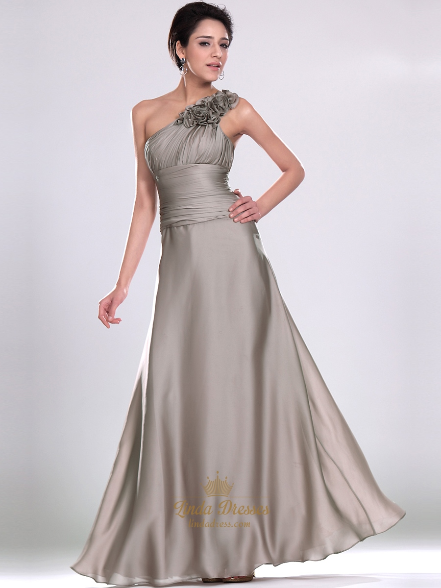 Grey Chiffon Bridesmaid Dresses With Ruched Waist And Fl Detail