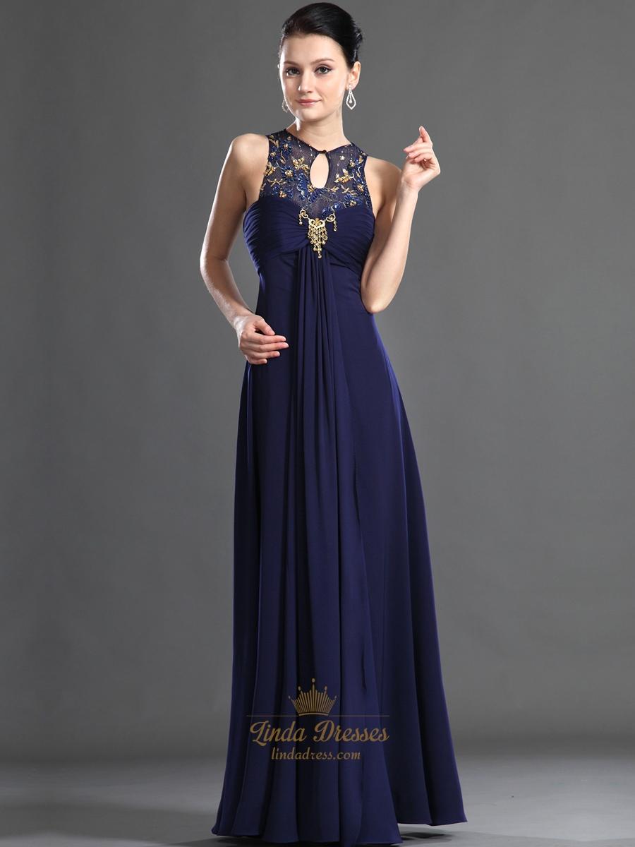 Blue Empire Prom Dresses