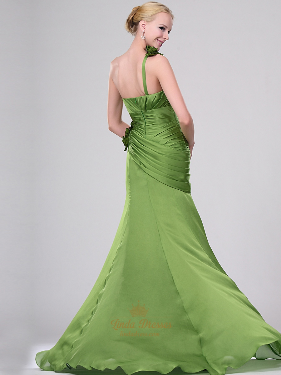 apple green one shoulder prom dresses with side drape and