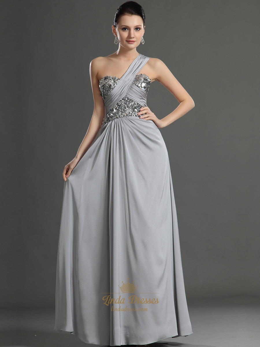Elegant Grey One Shoulder Chiffon Prom Dress With Sequin